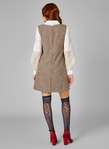 Kolsuz Sıfır Yaka Mini Elbise-Vekem